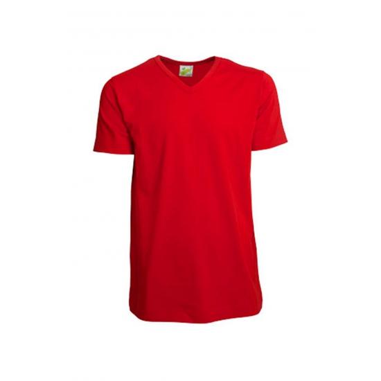 Rood gekleurd v hals shirt voor heren