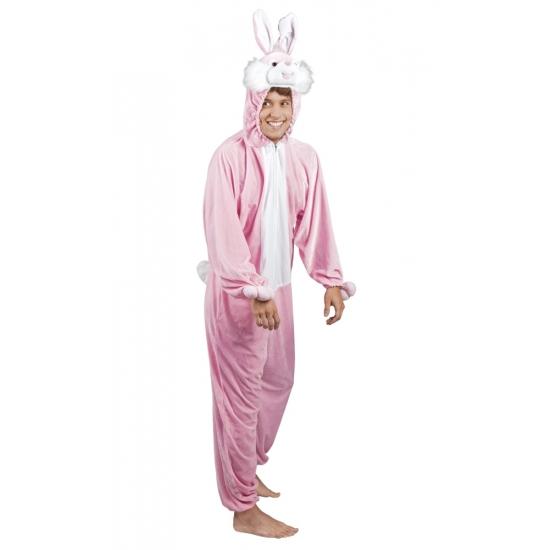 Roze konijnen hazen kostuum voor heren