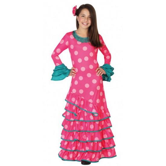 Roze Spaanse verkleedjurk voor kids