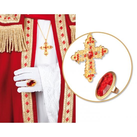 Sinterklaas set met ring en ketting. deze sinterklaas set bevat een goudkleurige ketting met kruis die ...