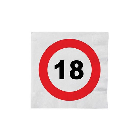 Stopbord servetjes 18 jaar 16 stuks (bron: Oranjediscounter)