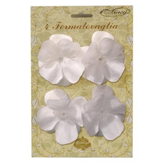 Tafelkleed klemmen witte bloem 4 stuks