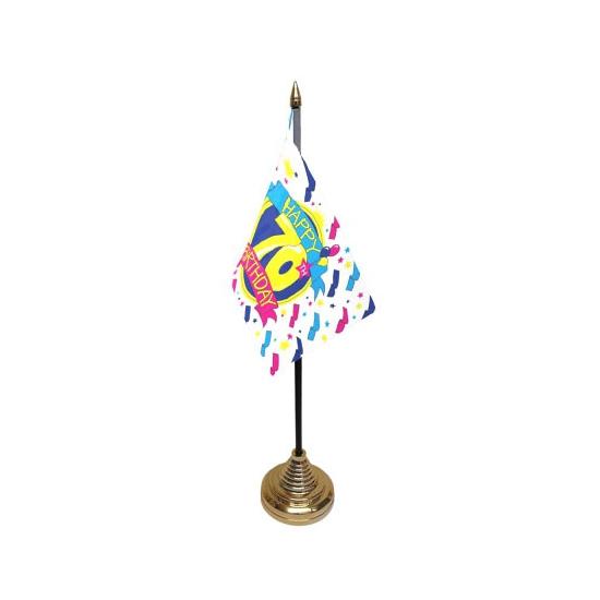 Tafelvlaggetjes Happy Birthday 70 (bron: Oranjediscounter)
