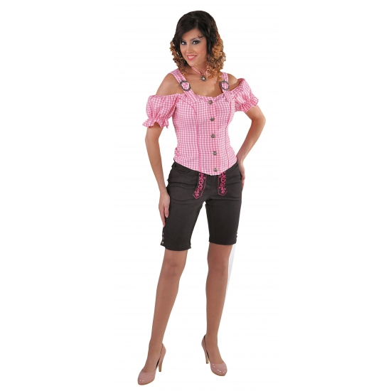 Tiroler geruite blouse off shoulders roze (bron: Oranjediscounter)