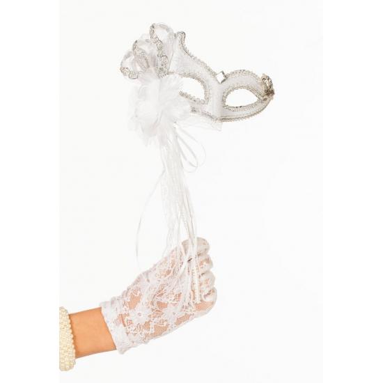 Venetiaanse oogmaskers wit/zilver op stok