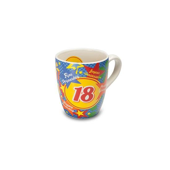 Verjaardags mok 18 jaar (bron: Oranjediscounter)