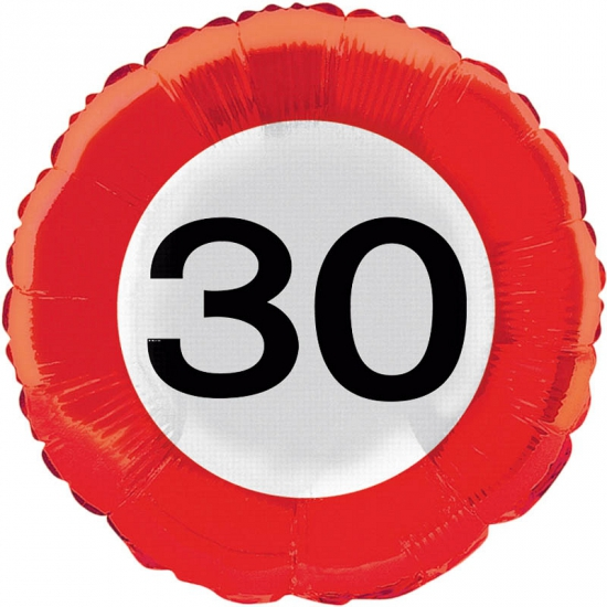 Verkeersbord helium ballon 30 jaar (bron: Oranjediscounter)