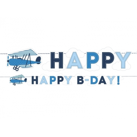 Vliegtuig thema slinger Happy Birthday