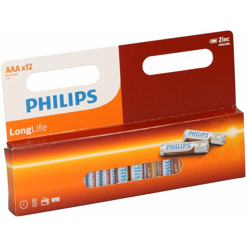 Voordeelverpakking 12 Philips long life AAA batterijen