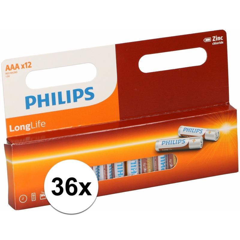 Voordeelverpakking 36 Philips long life AAA batterijen