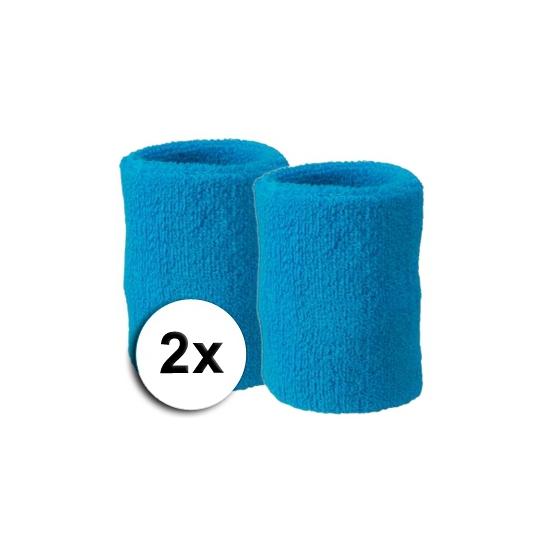 Voordelige turquoise zweetbandjes set