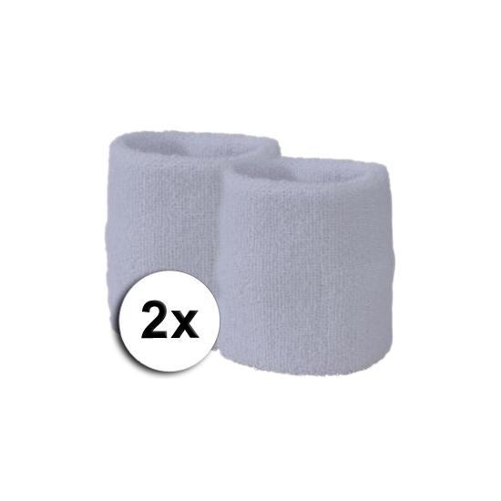 Voordelige witte zweetbandjes set