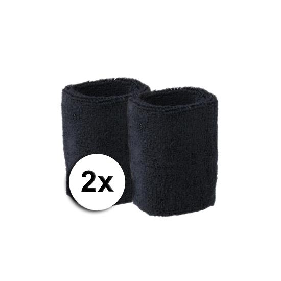 Voordelige zwarte zweetbandjes set