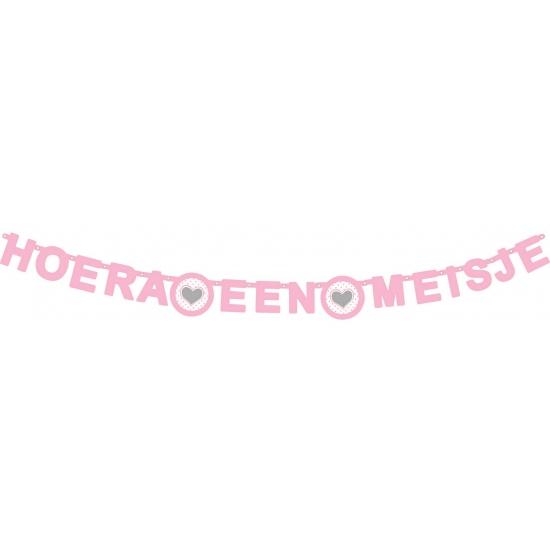 Wenslijn hartje hoera een meisje roze