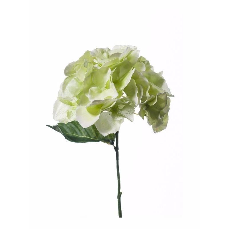 Witgroene Hydrangea kunstbloem 28 cm