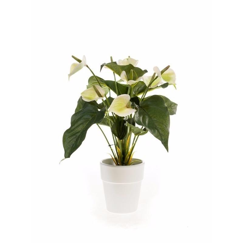Witte Anthurium kunstplant 40 cm in witte pot
