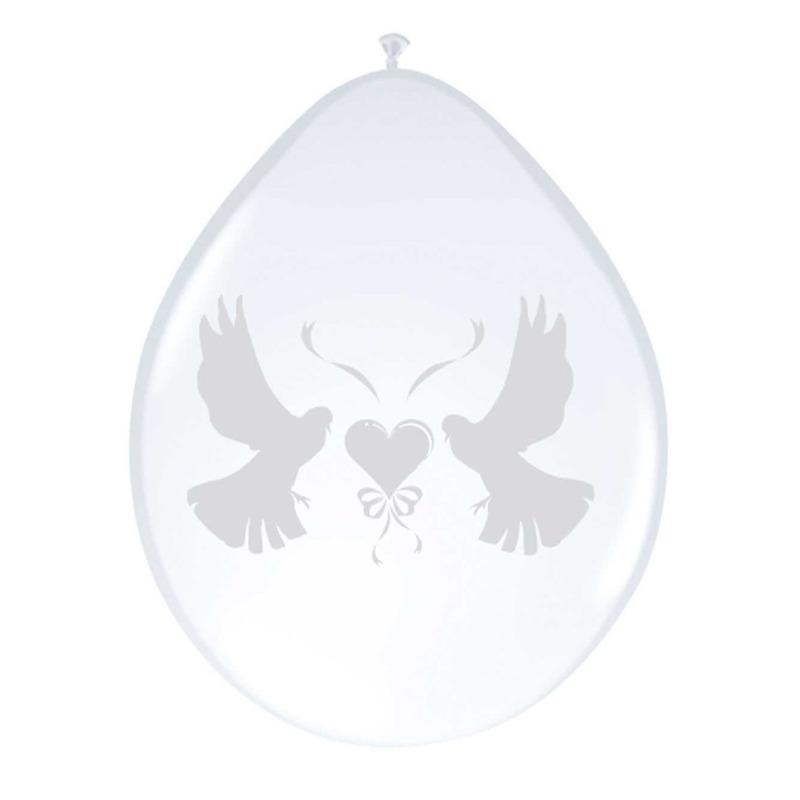 Witte duifjes ballonnen 8x
