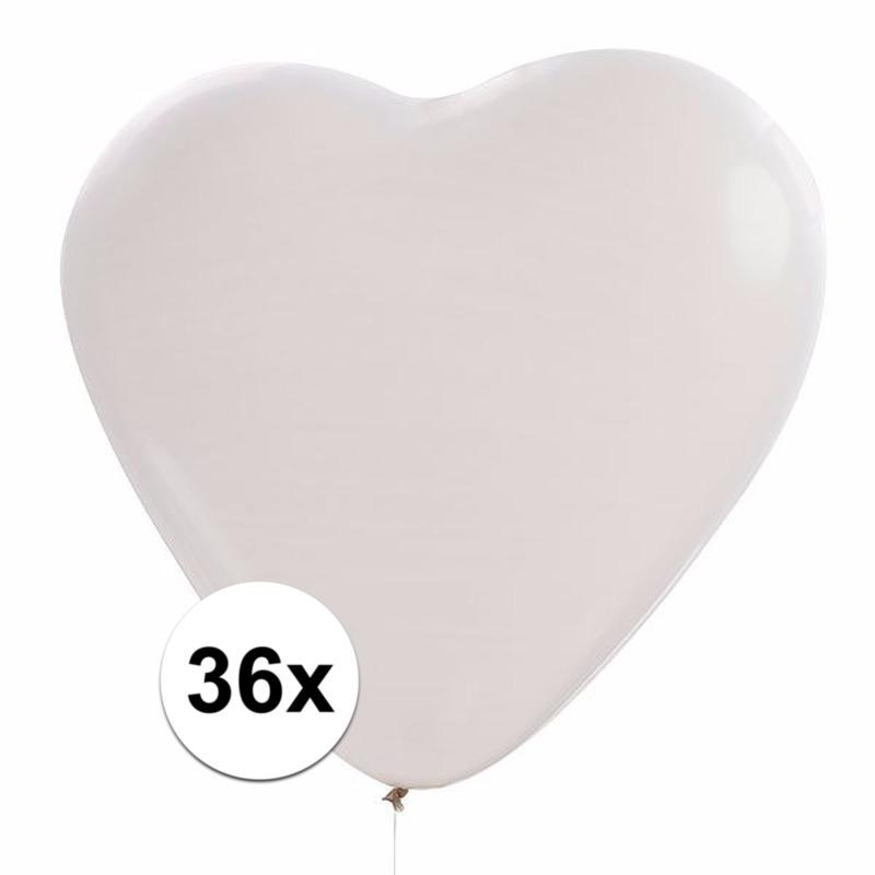 Witte hartjes ballonnen 36 stuks