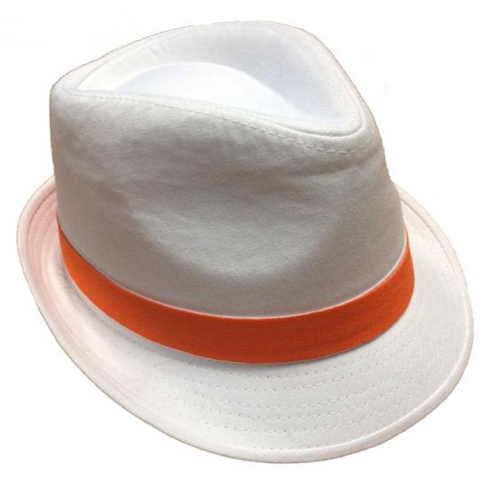 Witte hoeden met oranje bies (bron: Oranjediscounter)