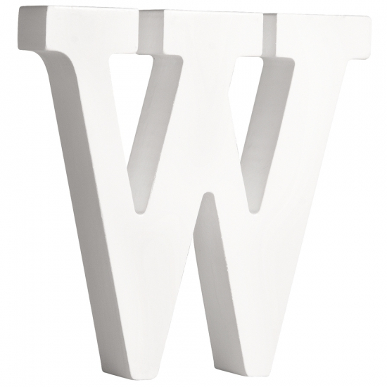 Witte houten letter W 11 cm (bron: Oranjediscounter)