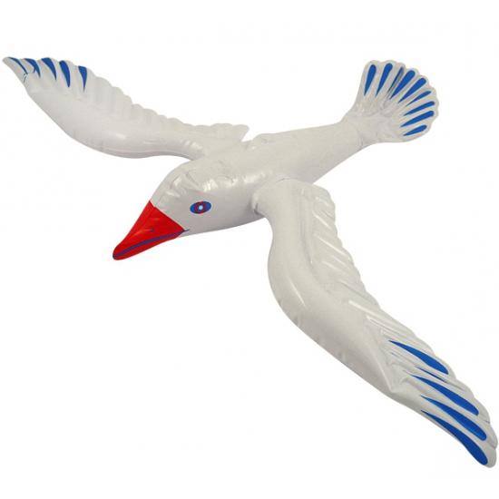 Witte opblaas vogel meeuw 76 cm