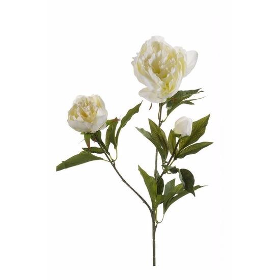 Witte pioenrozen kunst tak 70 cm