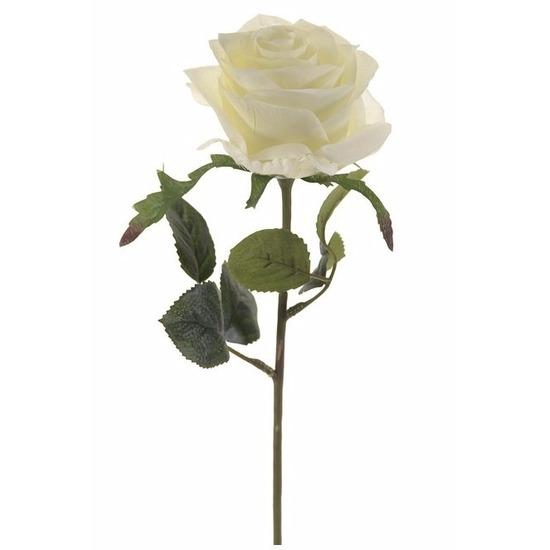Witte roosjes kunst tak 45 cm