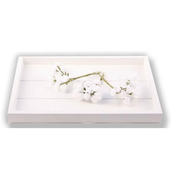 Witte roosjes van satijn 12 cm