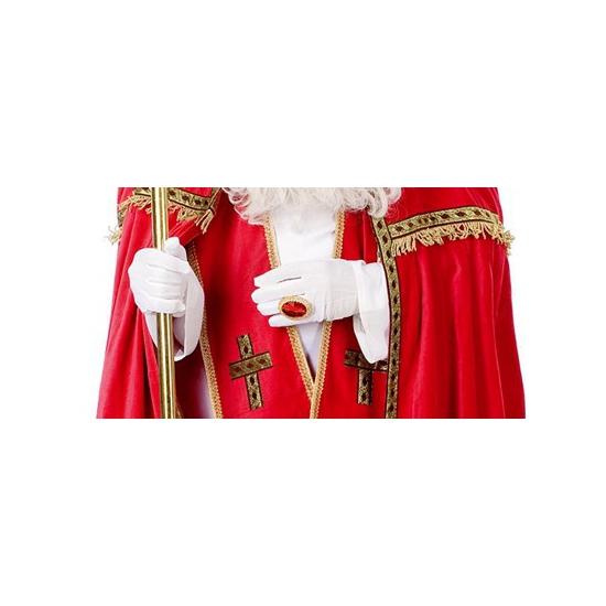 Witte Sinterklaas handschoenen kort