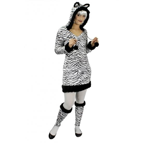 Zebra jurk met capuchon en oren incl beenwarmers