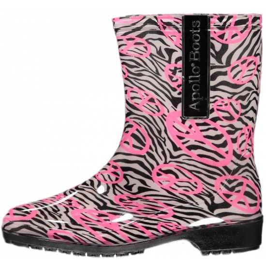 Zebra print regenlaarzen voor dames