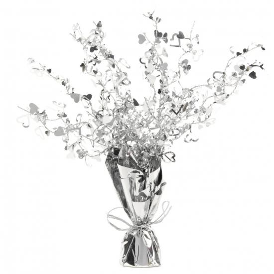 Zilveren centrepiece van folie