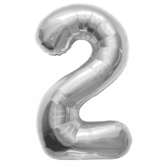 Zilveren cijfer ballon 2 met helium