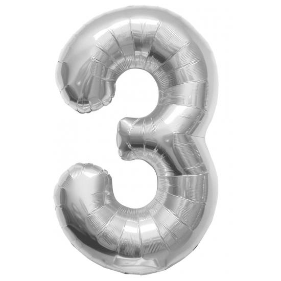 Zilveren cijfer ballon 3 met helium