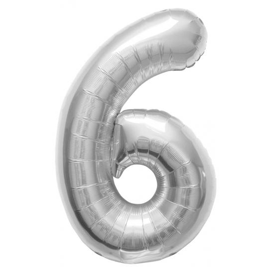 Zilveren cijfer ballon 6 met helium