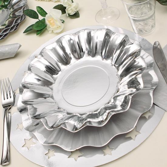 Zilveren diepe wegwerp bordjes 27 cm