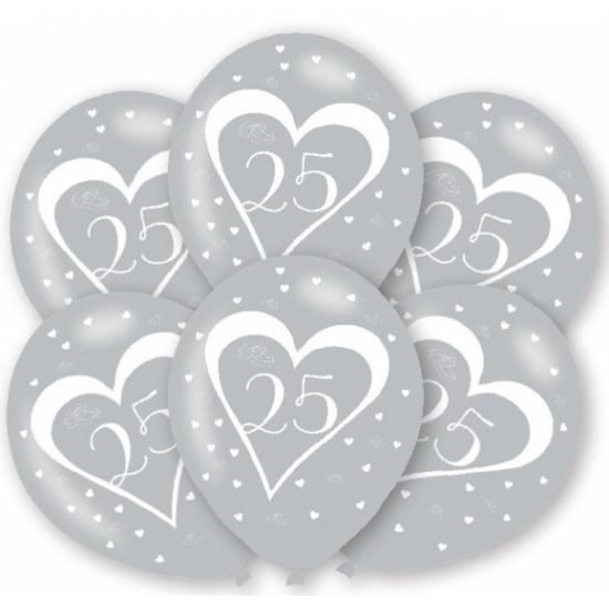 Zilveren huwelijk ballonnen 25 jaar 6 st