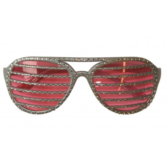 Zilveren lamel bril met diamantjes