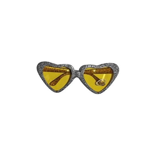 Zilveren party bril hartvormig met gouden glazen