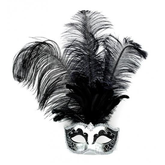 Zilveren Venetiaanse oogmaskers met zwarte veren