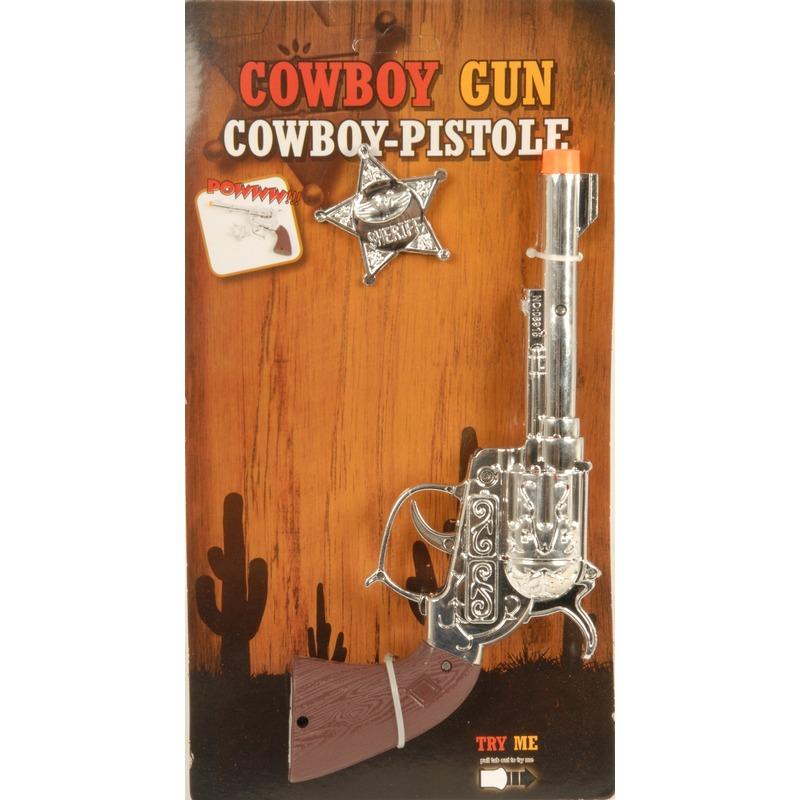 Zilveren wilde westen speelgoed pistool