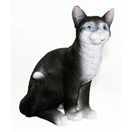 Zittende katten beeldje zwart 29 cm