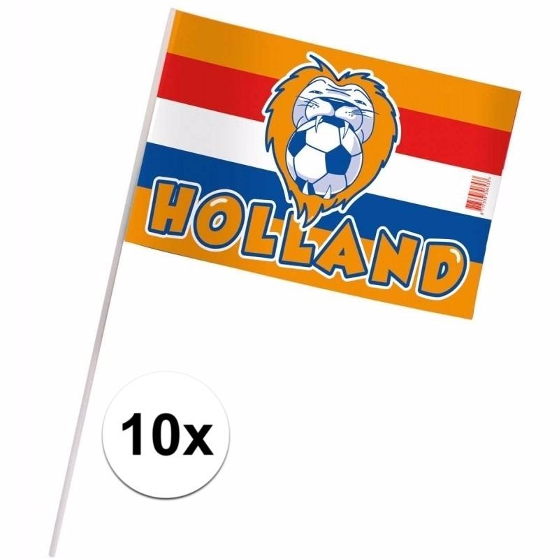 Zwaaivlaggetjes Holland 10 stuks