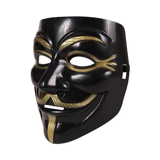 Zwart V for Vendetta gezichtsmasker