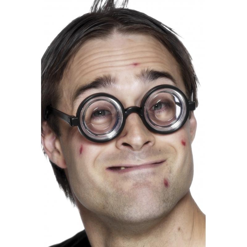 Zwarte bril met jampotglazen