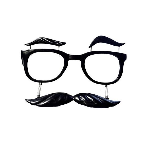 Zwarte bril met snor en wenkbrauwen