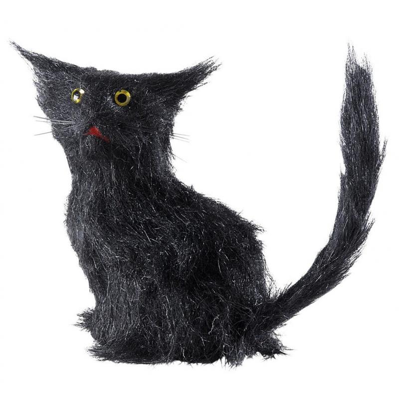 Zwarte decoratie katten 12 cm
