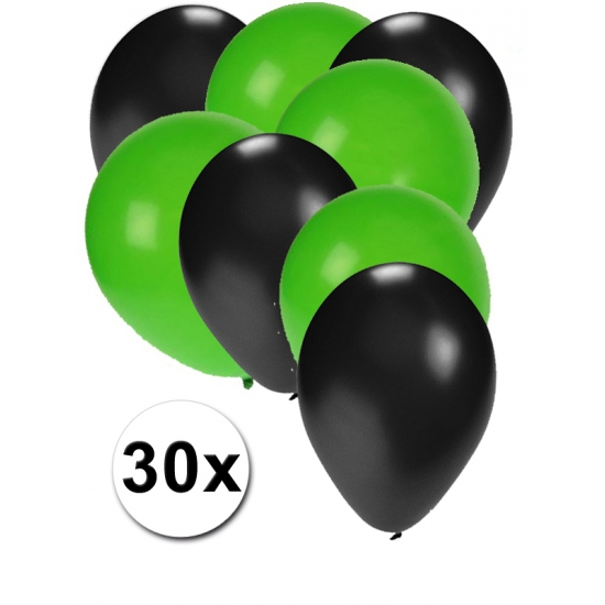 Zwarte en groene ballonnen 30 stuks (bron: Oranjediscounter)