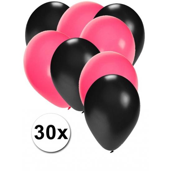 Zwarte en roze ballonnen 30 stuks