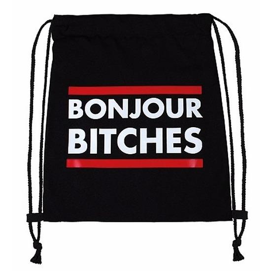 Zwarte gymtas met tekst Bonjour Bitches
